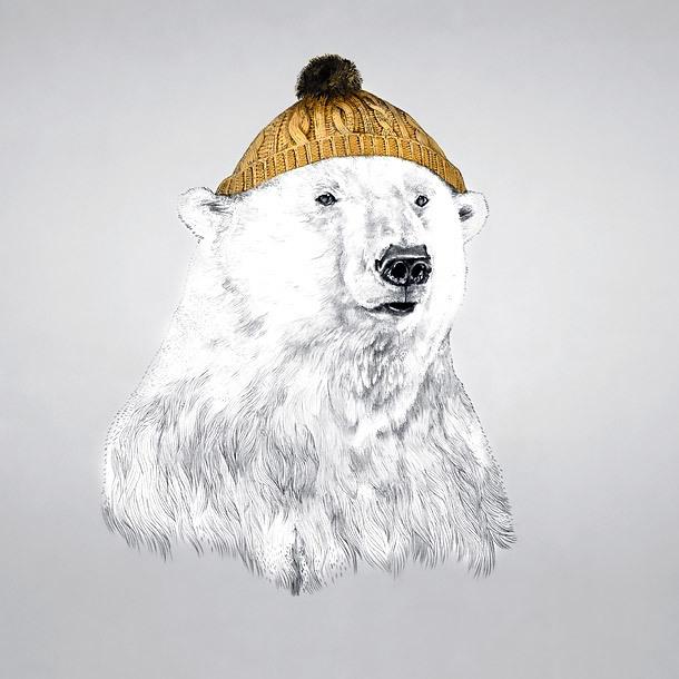 Polar Bear In A Cap Tattoo Design
