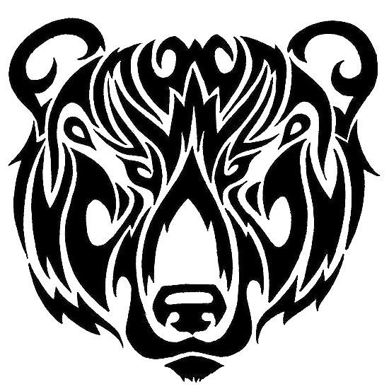 Tribal Bear Head Tattoo Design
