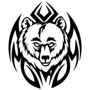 Tribal Head Bear Tattoo