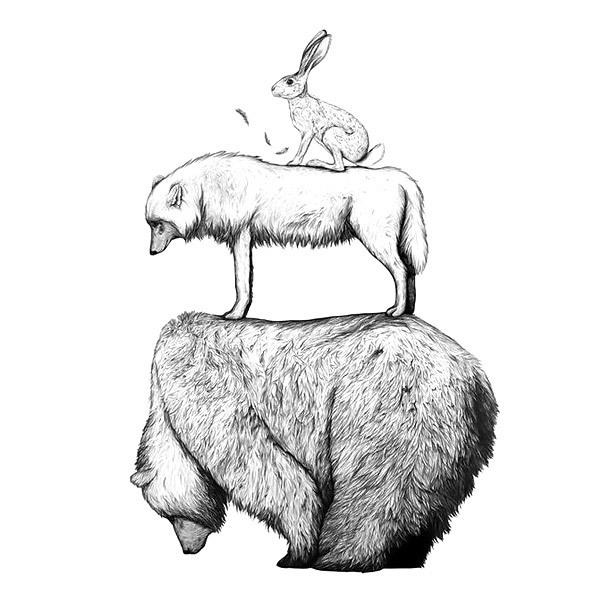 Pyramid Animals Bear Wolf Rabbit Tattoo Design