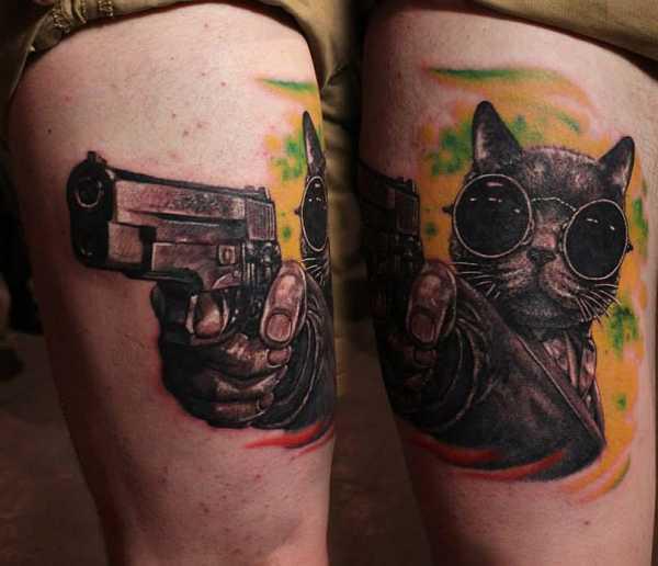 Ganster Cat Tattoo Idea