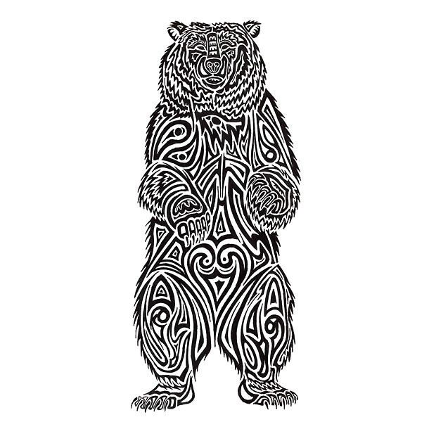 Tribal Stnding Bear Tattoo Design