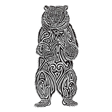 Tribal Stnding Bear Tattoo