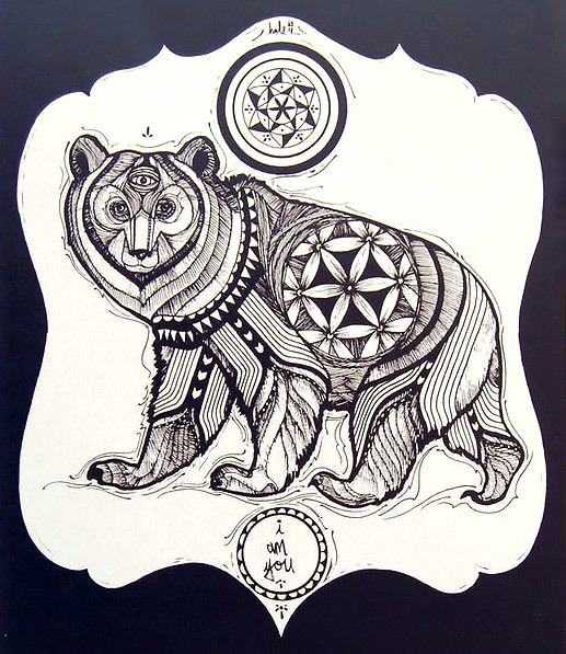Tribal Three Eyed Bear Tattoo Design