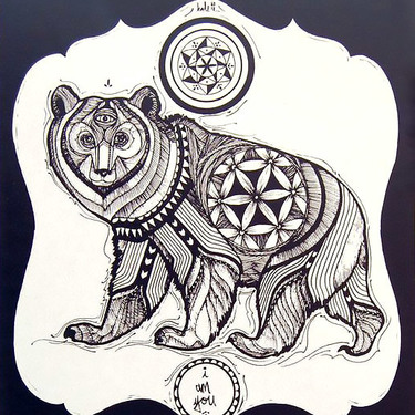 Tribal Three Eyed Bear Tattoo