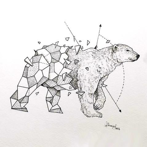 From Geometric To Realism Polar Bear Tattoo Design
