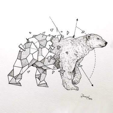From Geometric To Realism Polar Bear Tattoo
