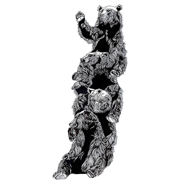 Funny Bears Friends Tattoo Design