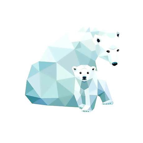 Geometric Polar Bear's Family Tattoo Design