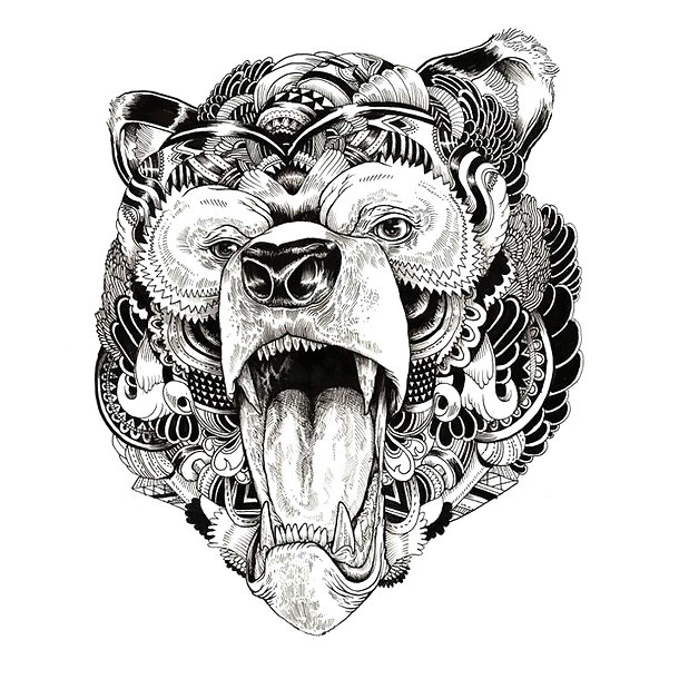 Grizzly Bear Head Tattoo Design