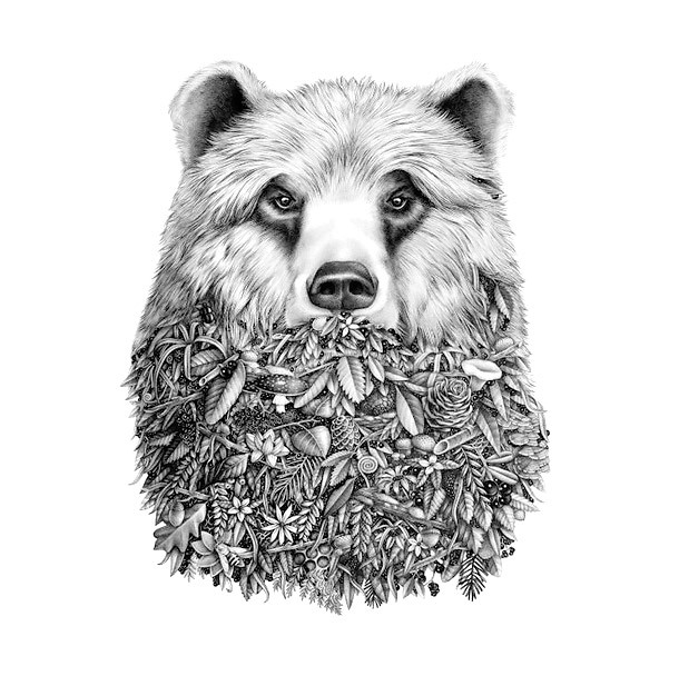 Half Bear Half Nature Tattoo Design