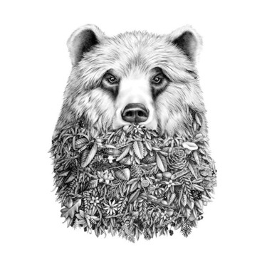 Half Bear Half Nature Tattoo