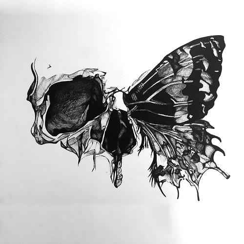 Half Skull Butterfly Tattoo Design