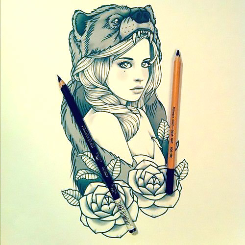 Headdressed Girl Bear Tattoo Design