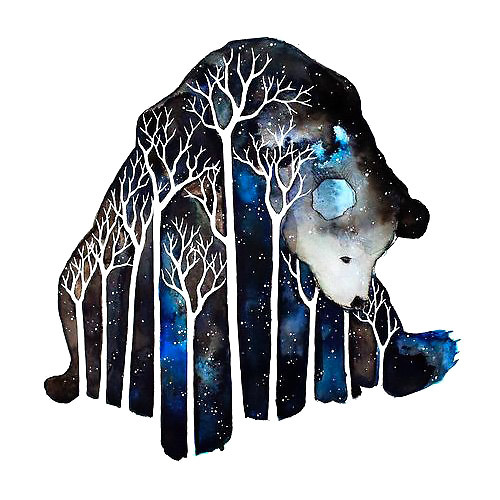 Lonely Bear In The Night Tattoo Design