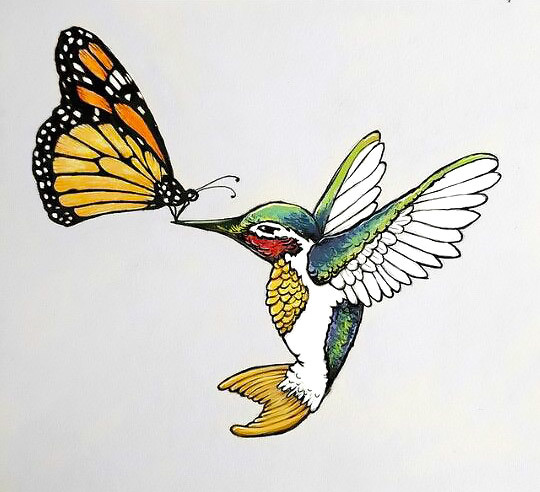 Monarch Butterfly and Colibri Tattoo Design