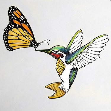 Monarch Butterfly and Colibri Tattoo