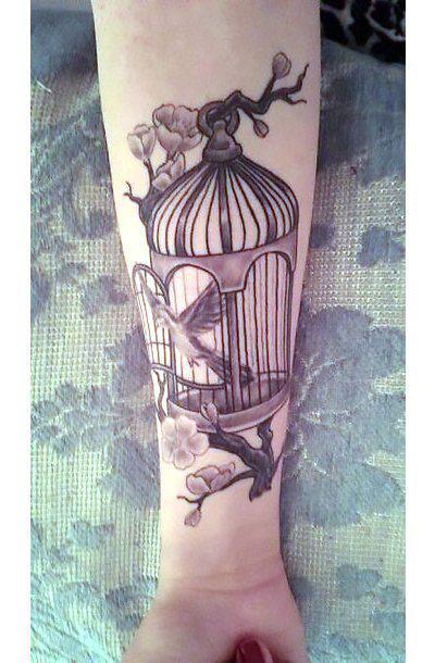 Black and Gray Birdcage Tattoo Idea