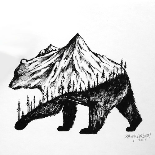 Mountain Bear Tattoo Design