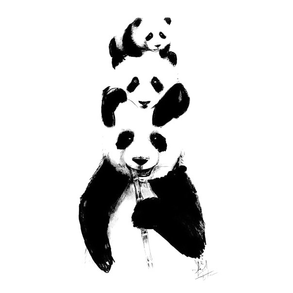 Panda Bear Family Tattoo Design