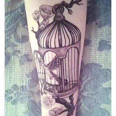 Black and Gray Birdcage Tattoo
