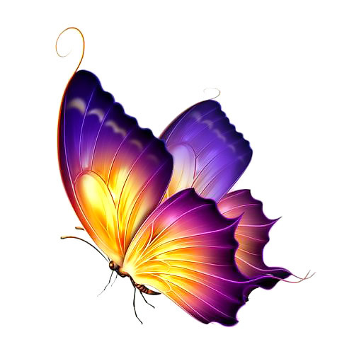 Pretty Purple and Yellow Butterfly Tattoo Design