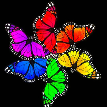 Rainbow Psychedelic Butterflies Tattoo