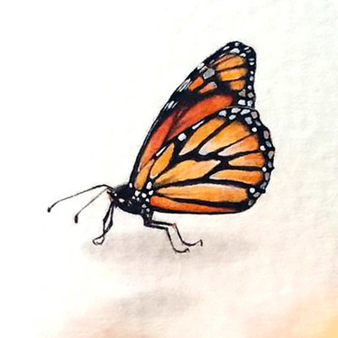 Realistic Little Monarch Butterfly Tattoo