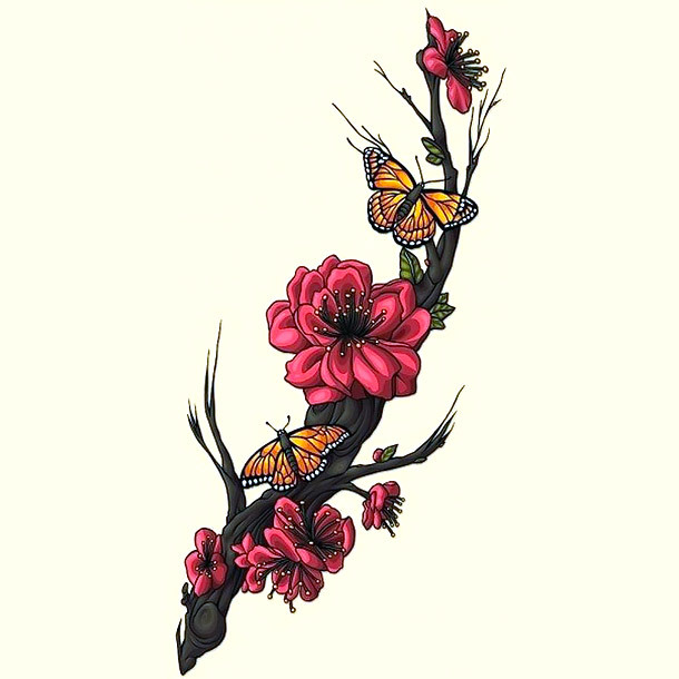 Sakura Flowers and Butterfly Tattoo Design