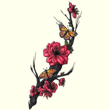 Sakura Flowers and Butterfly Tattoo