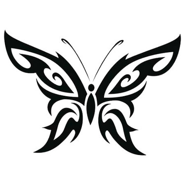 Simple Tribal Butterfly Tattoo