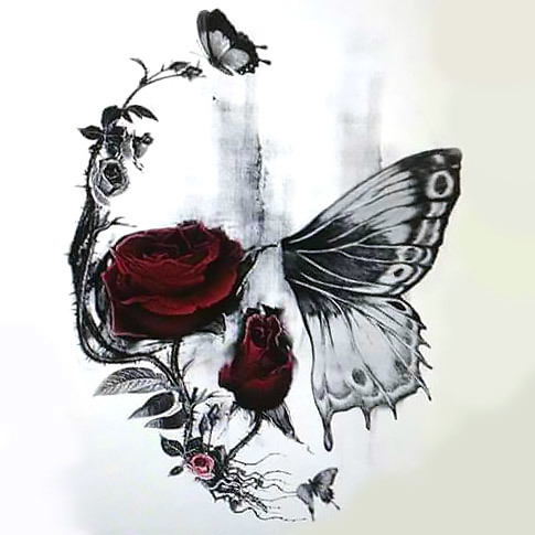 Skull Butterfly and Rose Tattoo Design