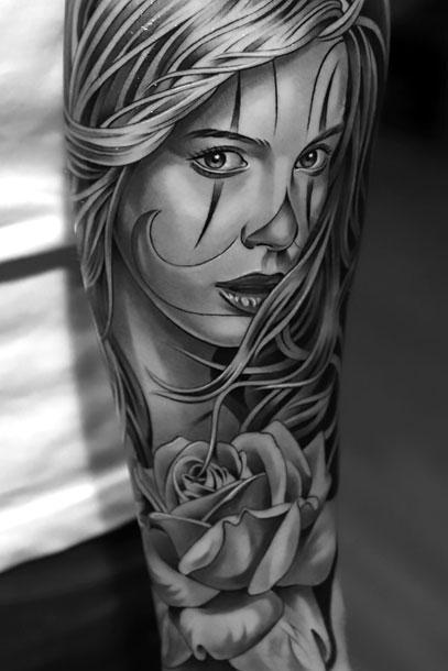 Black and Gray Girl Tattoo Idea