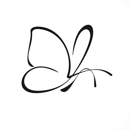 Tiny Simple Outline Butterfly Tattoo Design