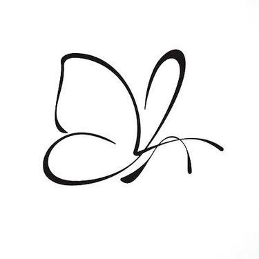 Tiny Simple Outline Butterfly Tattoo
