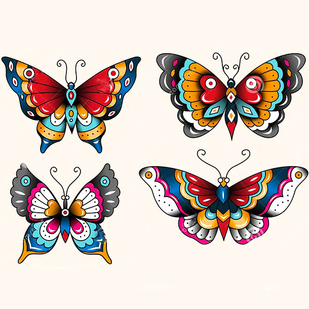 Traditional Butterflies Tattoo Design