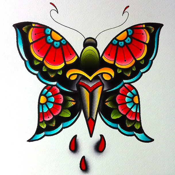 Traditional Colorful Butterfly Tattoo Design
