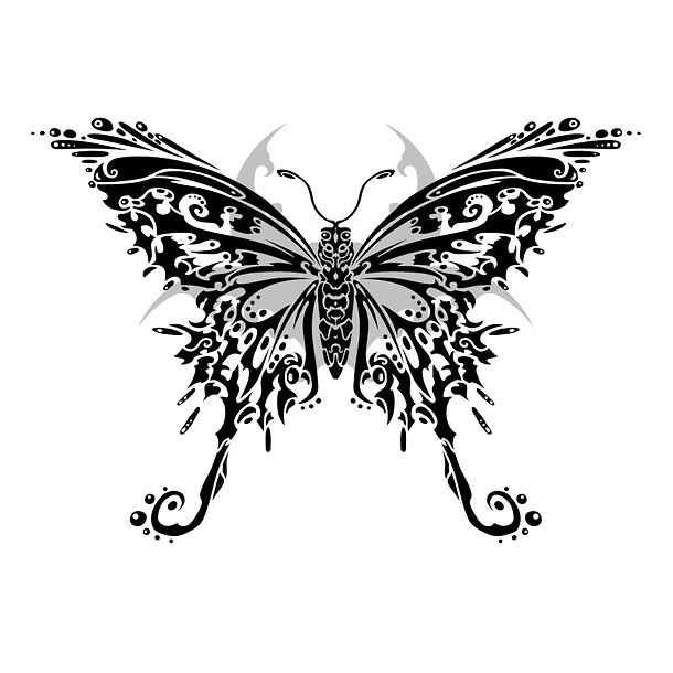 Tribal Butterfly Detailed Tattoo Design