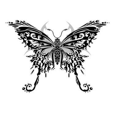 Tribal Butterfly Detailed Tattoo